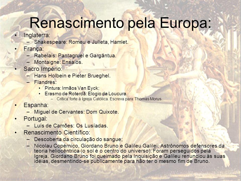 Renascimento pela Europa: Inglaterra: –Shakespeare: Romeu e Julieta, Hamlet. França: –Rabelais: Pantagruel e Gargântua. –Montaigne: Ensaios. Sacro Imp