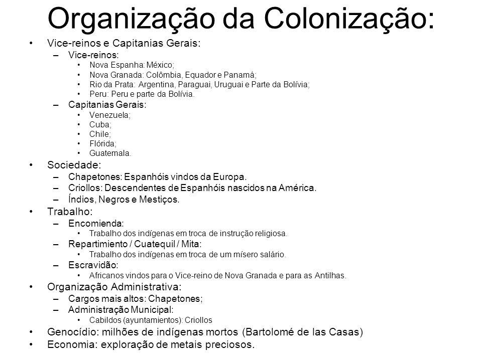 Organização da Colonização: Vice-reinos e Capitanias Gerais: –Vice-reinos: Nova Espanha: México; Nova Granada: Colômbia, Equador e Panamá; Rio da Prat