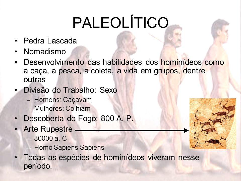 PALEOLÍTICO Pedra Lascada Nomadismo Desenvolvimento das habilidades dos hominídeos como a caça, a pesca, a coleta, a vida em grupos, dentre outras Div