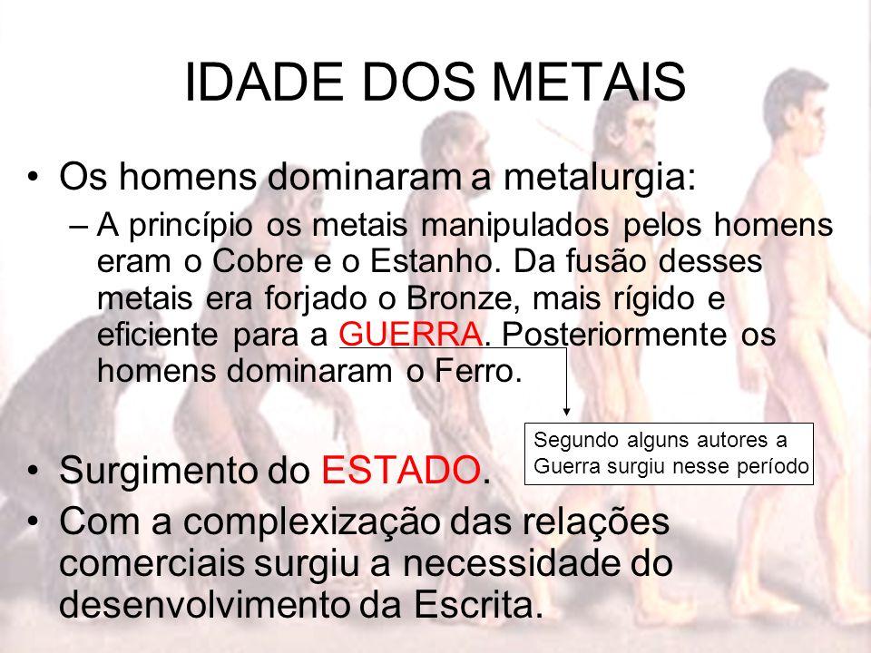 IDADE DOS METAIS Os homens dominaram a metalurgia: –A princípio os metais manipulados pelos homens eram o Cobre e o Estanho. Da fusão desses metais er