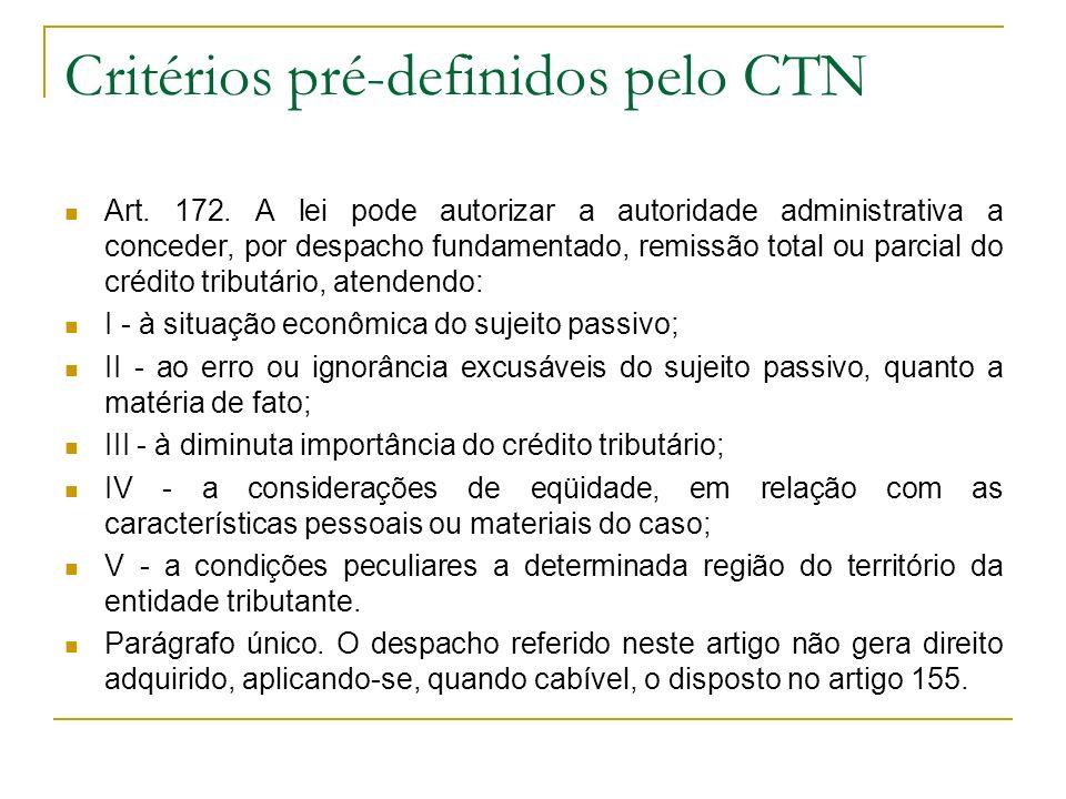 Características É causa de extinção do crédito tributário Remissão compreende tributos e penalidades Concedida após a constituição do crédito