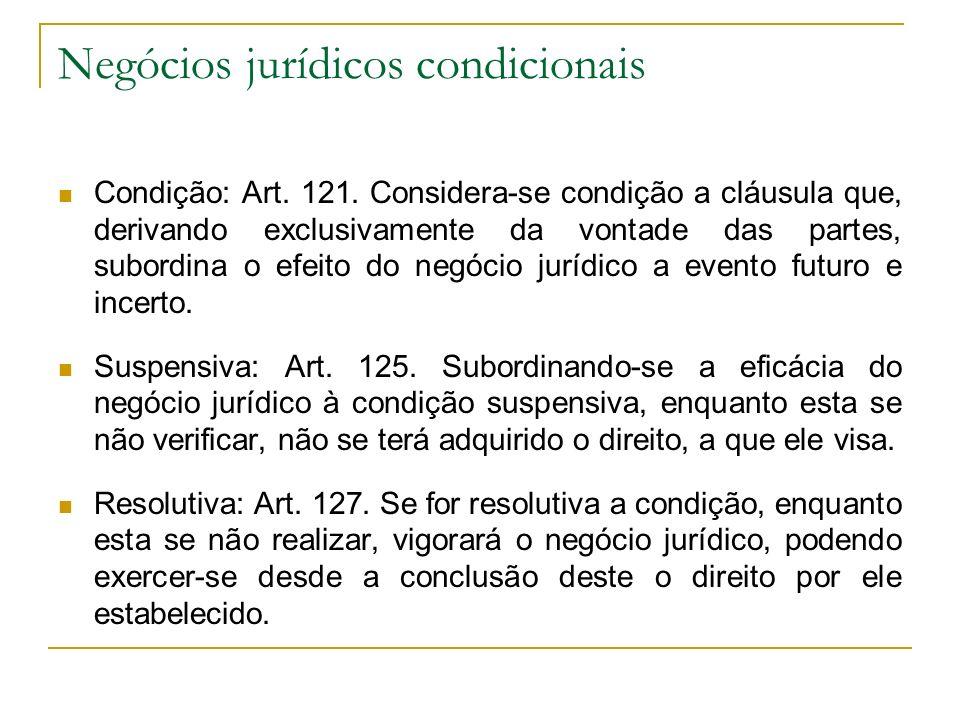Negócios jurídicos condicionais Condição: Art. 121. Considera-se condição a cláusula que, derivando exclusivamente da vontade das partes, subordina o