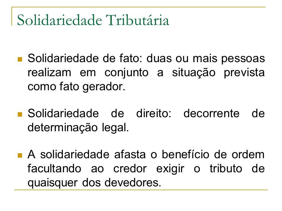 Solidariedade Tributária Solidariedade de fato: duas ou mais pessoas realizam em conjunto a situação prevista como fato gerador. Solidariedade de dire