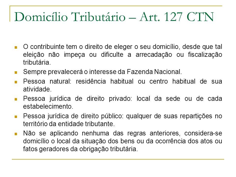 Domicílio Tributário – Art. 127 CTN O contribuinte tem o direito de eleger o seu domicílio, desde que tal eleição não impeça ou dificulte a arrecadaçã