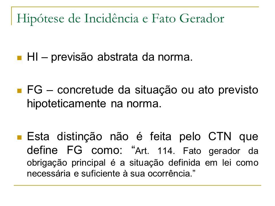 Hipótese de Incidência e Fato Gerador HI – previsão abstrata da norma. FG – concretude da situação ou ato previsto hipoteticamente na norma. Esta dist