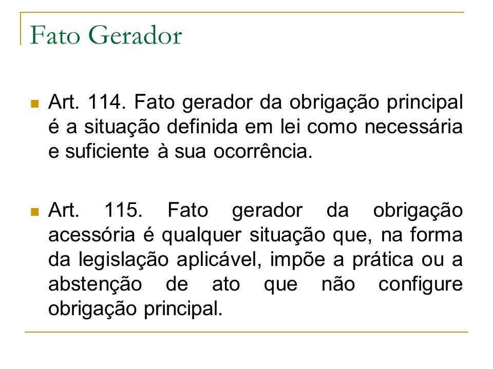 Fato Gerador Art. 114. Fato gerador da obrigação principal é a situação definida em lei como necessária e suficiente à sua ocorrência. Art. 115. Fato