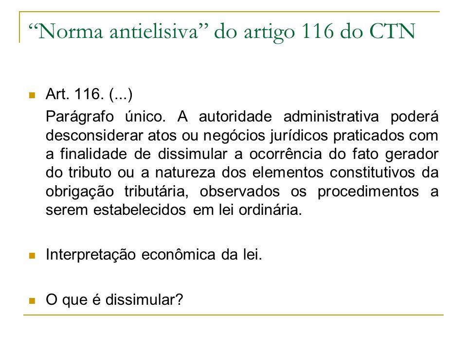 Norma antielisiva do artigo 116 do CTN Art. 116. (...) Parágrafo único. A autoridade administrativa poderá desconsiderar atos ou negócios jurídicos pr