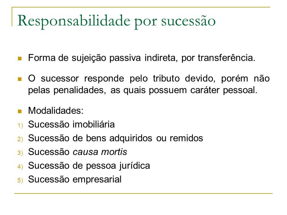 Responsabilidade por sucessão Forma de sujeição passiva indireta, por transferência.