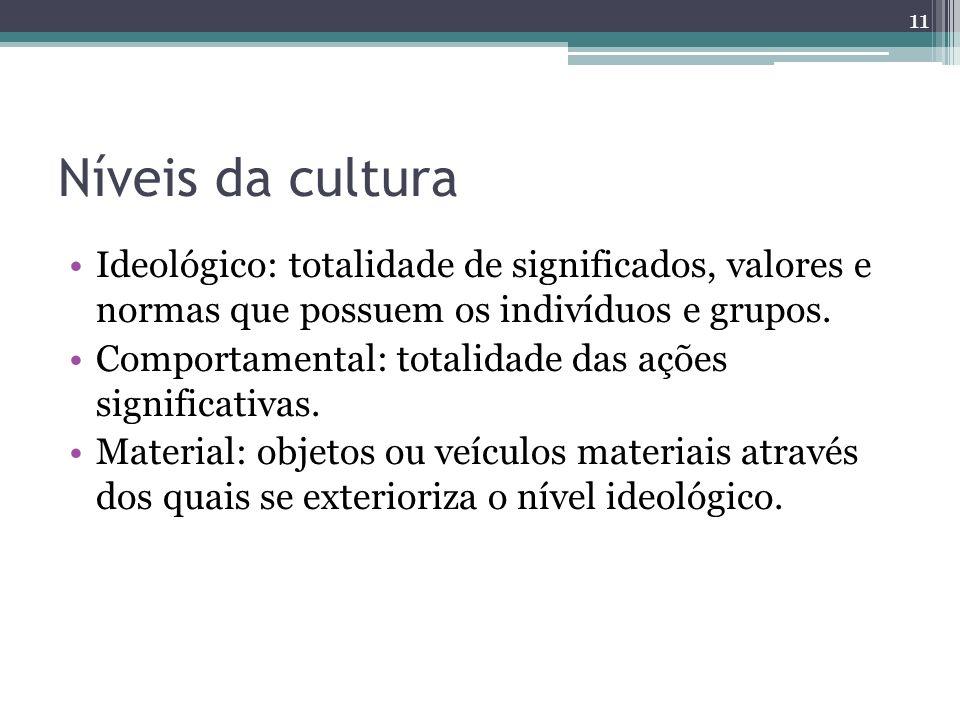Níveis da cultura Ideológico: totalidade de significados, valores e normas que possuem os indivíduos e grupos. Comportamental: totalidade das ações si