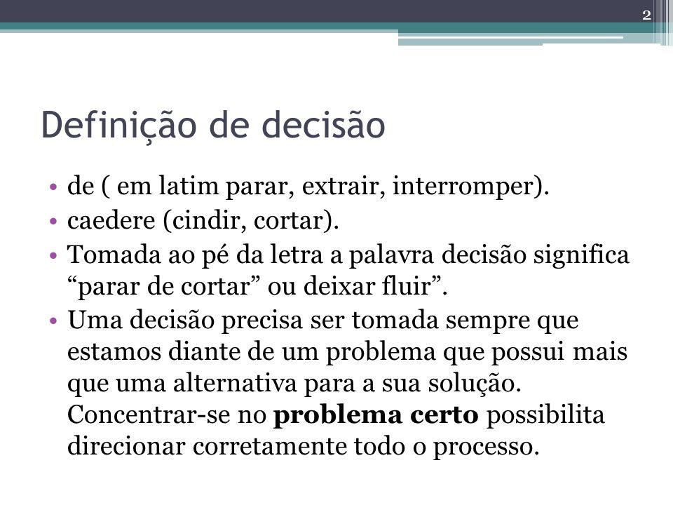 Definição de decisão de ( em latim parar, extrair, interromper). caedere (cindir, cortar). Tomada ao pé da letra a palavra decisão significa parar de