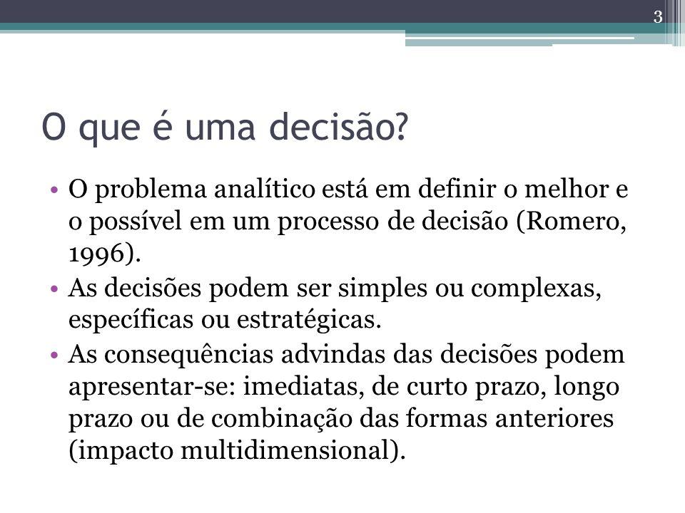 O que é uma decisão? O problema analítico está em definir o melhor e o possível em um processo de decisão (Romero, 1996). As decisões podem ser simple