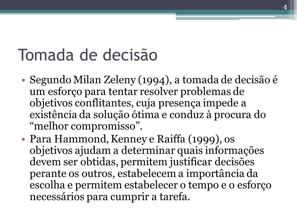 Tomada de decisão Segundo Milan Zeleny (1994), a tomada de decisão é um esforço para tentar resolver problemas de objetivos conflitantes, cuja presenç