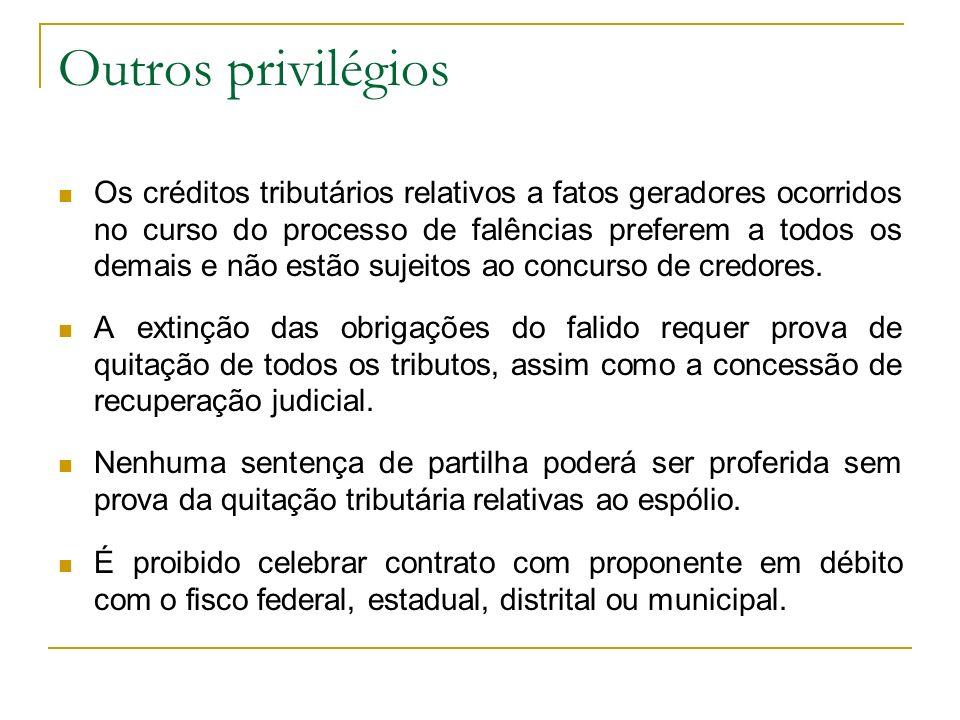 Outros privilégios Os créditos tributários relativos a fatos geradores ocorridos no curso do processo de falências preferem a todos os demais e não es