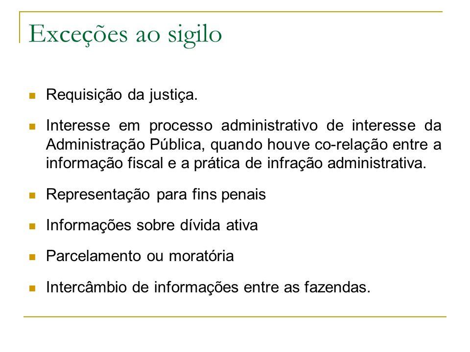 Exceções ao sigilo Requisição da justiça. Interesse em processo administrativo de interesse da Administração Pública, quando houve co-relação entre a