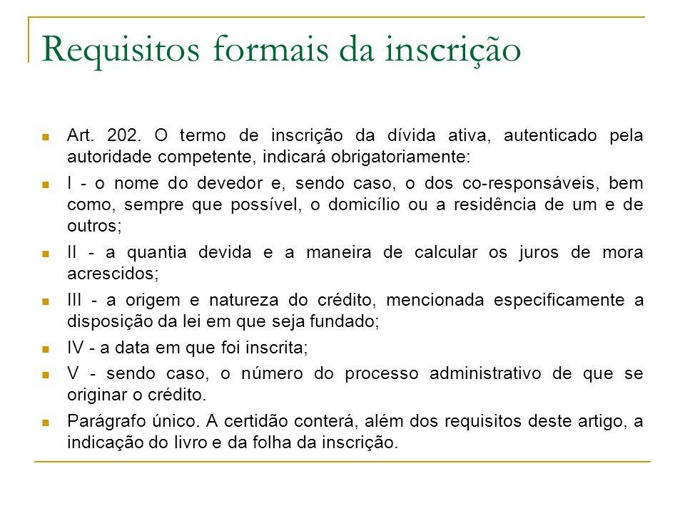 Requisitos formais da inscrição Art. 202. O termo de inscrição da dívida ativa, autenticado pela autoridade competente, indicará obrigatoriamente: I -