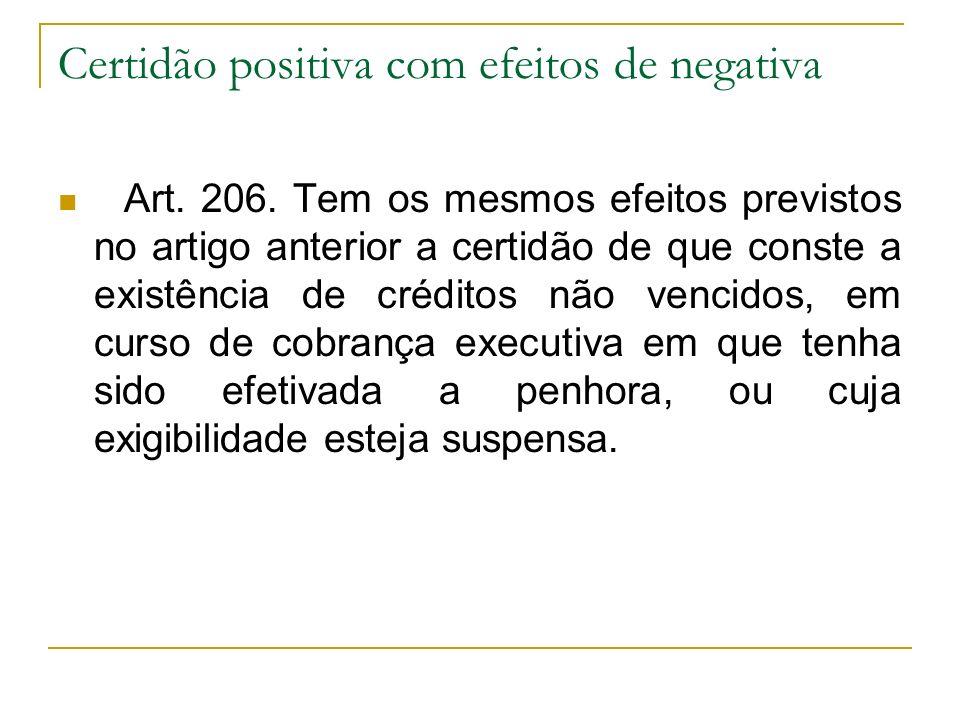 Certidão positiva com efeitos de negativa Art. 206. Tem os mesmos efeitos previstos no artigo anterior a certidão de que conste a existência de crédit
