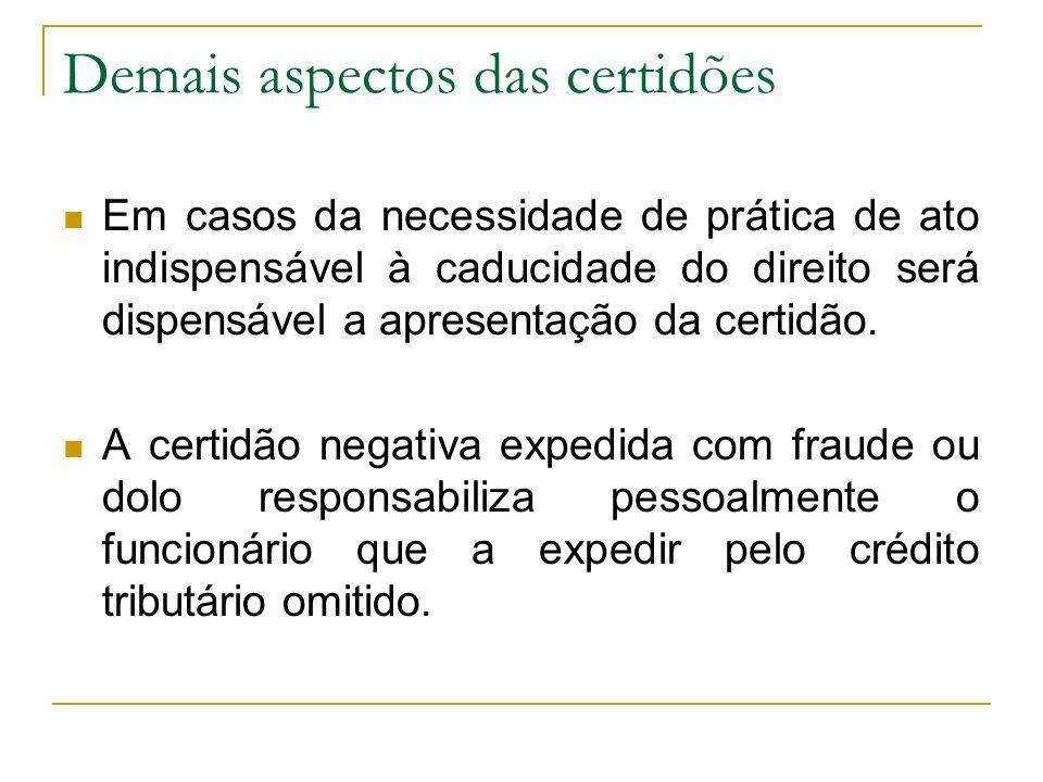 Demais aspectos das certidões Em casos da necessidade de prática de ato indispensável à caducidade do direito será dispensável a apresentação da certi
