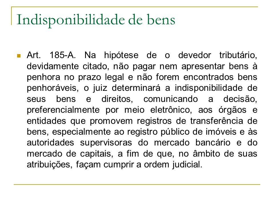Indisponibilidade de bens Art. 185-A. Na hipótese de o devedor tributário, devidamente citado, não pagar nem apresentar bens à penhora no prazo legal