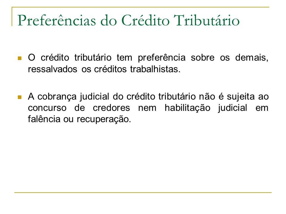Preferências do Crédito Tributário O crédito tributário tem preferência sobre os demais, ressalvados os créditos trabalhistas. A cobrança judicial do