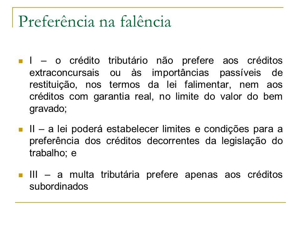 Preferência na falência I – o crédito tributário não prefere aos créditos extraconcursais ou às importâncias passíveis de restituição, nos termos da l