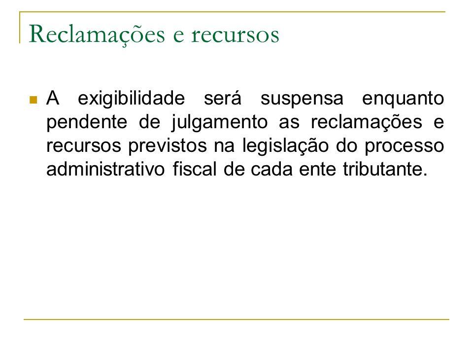 Reclamações e recursos A exigibilidade será suspensa enquanto pendente de julgamento as reclamações e recursos previstos na legislação do processo administrativo fiscal de cada ente tributante.