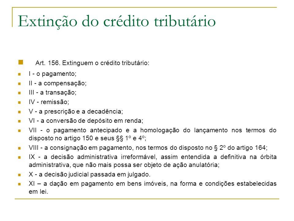 Extinção do crédito tributário Art. 156. Extinguem o crédito tributário: I - o pagamento; II - a compensação; III - a transação; IV - remissão; V - a