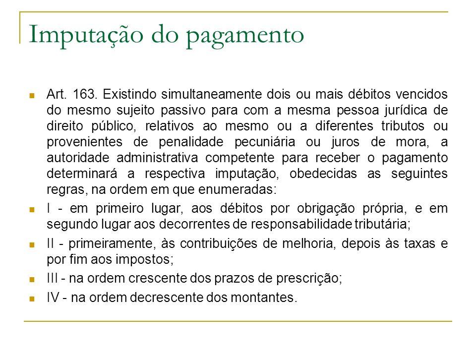Imputação do pagamento Art. 163. Existindo simultaneamente dois ou mais débitos vencidos do mesmo sujeito passivo para com a mesma pessoa jurídica de