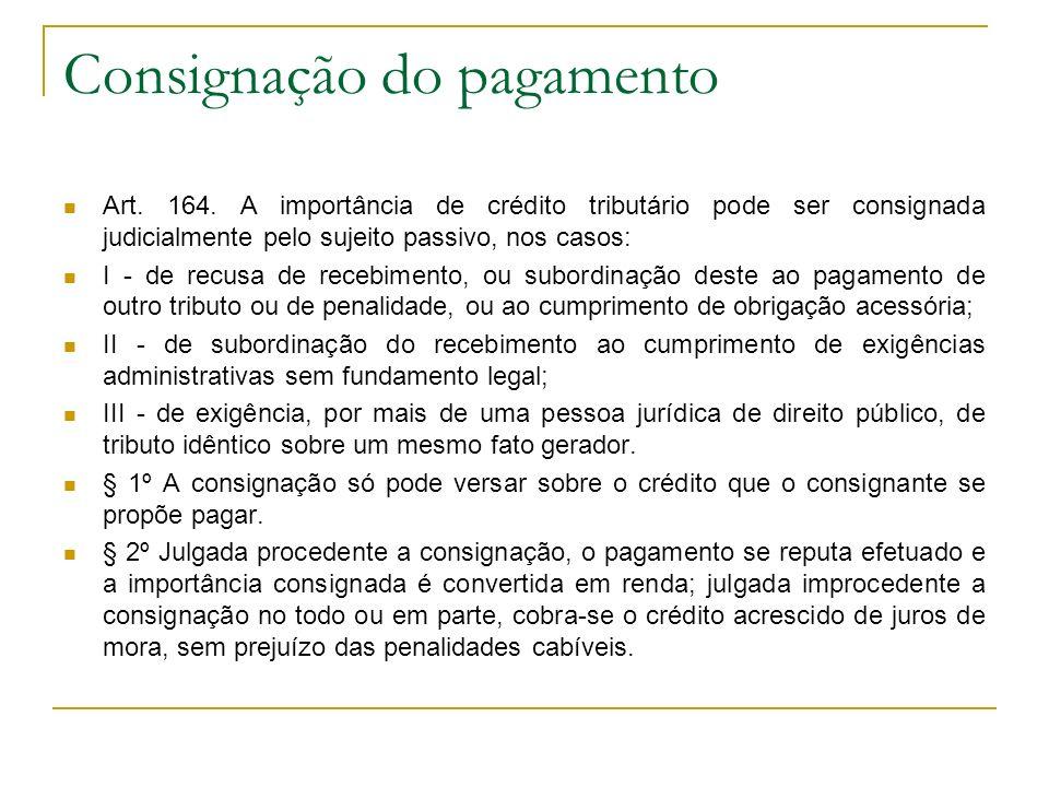 Consignação do pagamento Art. 164. A importância de crédito tributário pode ser consignada judicialmente pelo sujeito passivo, nos casos: I - de recus