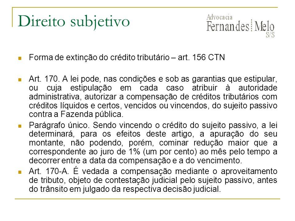 Direito subjetivo Forma de extinção do crédito tributário – art. 156 CTN Art. 170. A lei pode, nas condições e sob as garantias que estipular, ou cuja