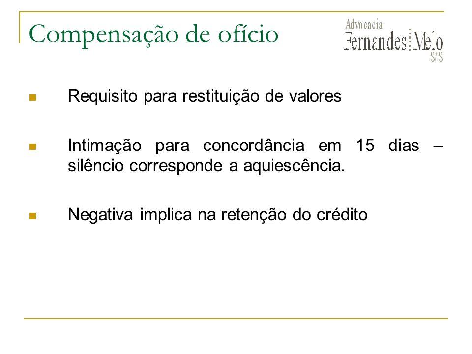 Compensação de ofício Requisito para restituição de valores Intimação para concordância em 15 dias – silêncio corresponde a aquiescência.