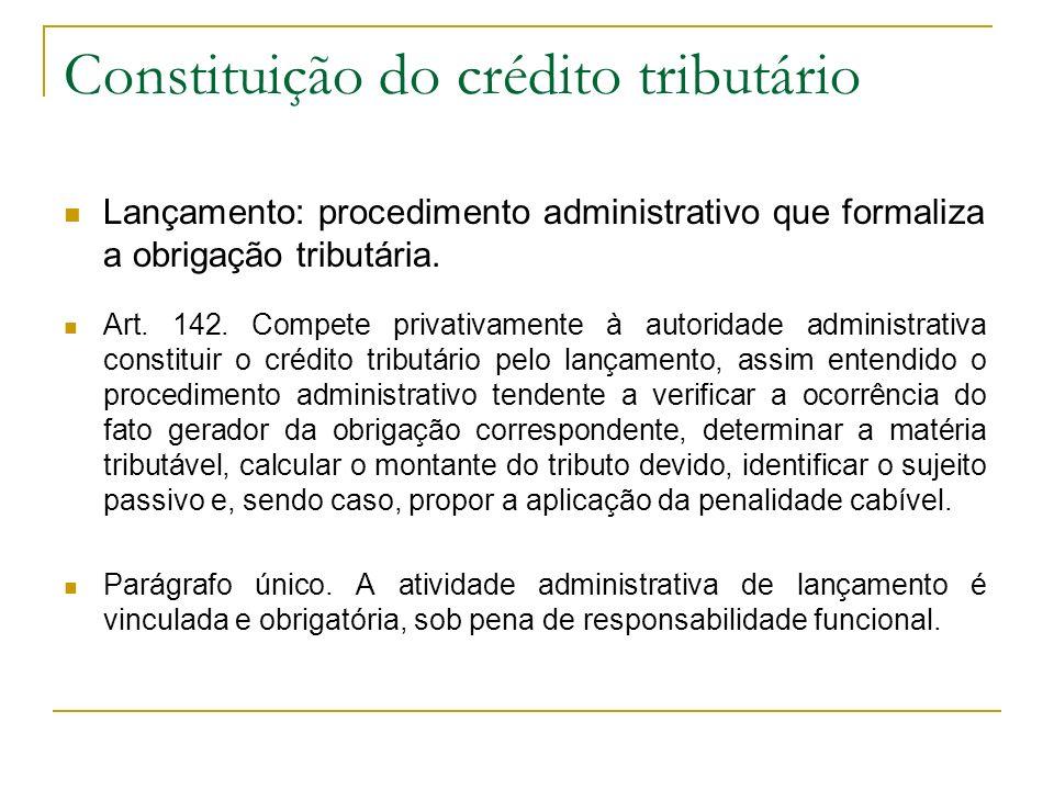 Constituição do crédito tributário Lançamento: procedimento administrativo que formaliza a obrigação tributária. Art. 142. Compete privativamente à au