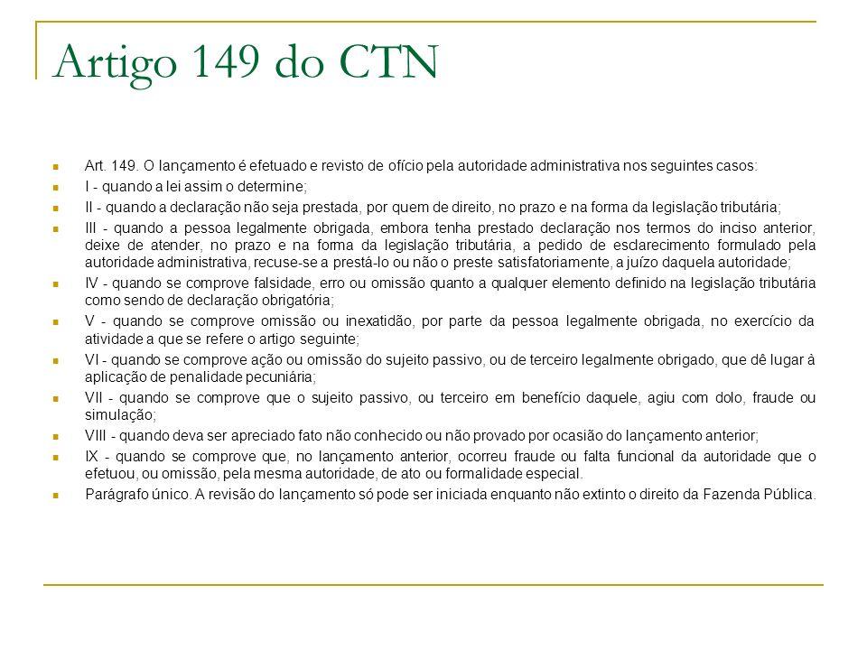 Artigo 149 do CTN Art. 149. O lançamento é efetuado e revisto de ofício pela autoridade administrativa nos seguintes casos: I - quando a lei assim o d