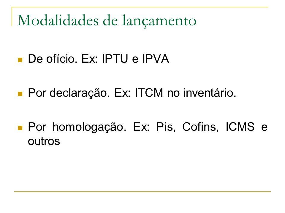 Modalidades de lançamento De ofício.Ex: IPTU e IPVA Por declaração.