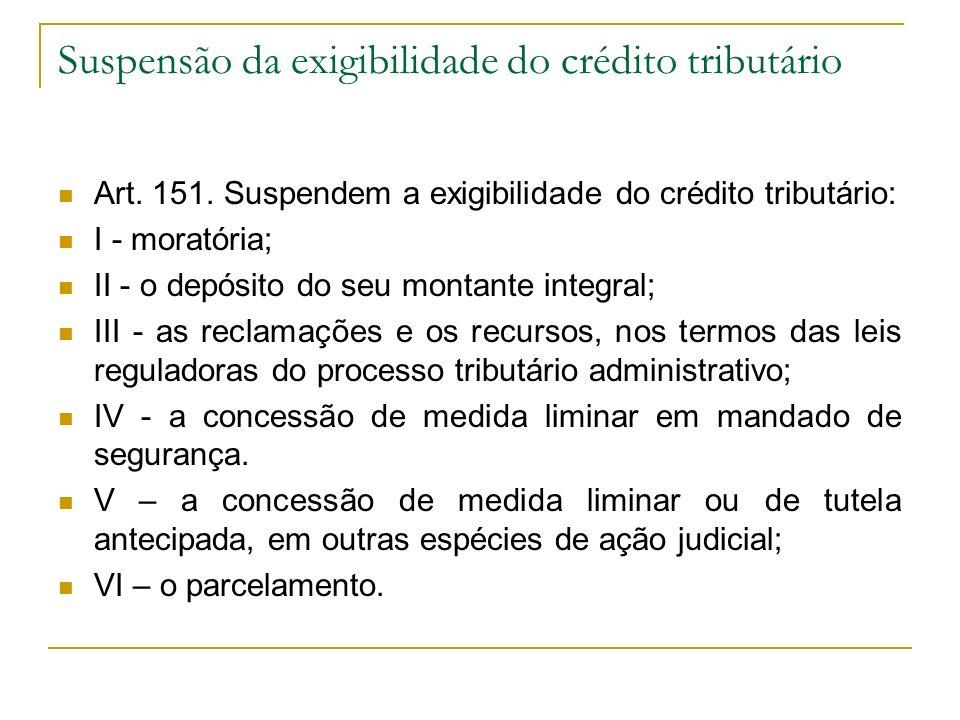 Suspensão da exigibilidade do crédito tributário Art. 151. Suspendem a exigibilidade do crédito tributário: I - moratória; II - o depósito do seu mont