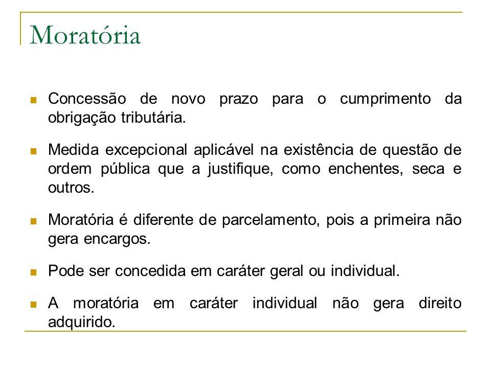 Moratória Concessão de novo prazo para o cumprimento da obrigação tributária. Medida excepcional aplicável na existência de questão de ordem pública q