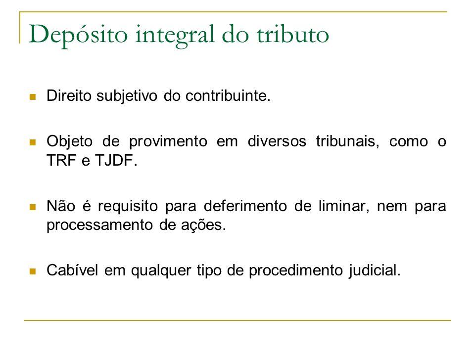 Depósito integral do tributo Direito subjetivo do contribuinte. Objeto de provimento em diversos tribunais, como o TRF e TJDF. Não é requisito para de