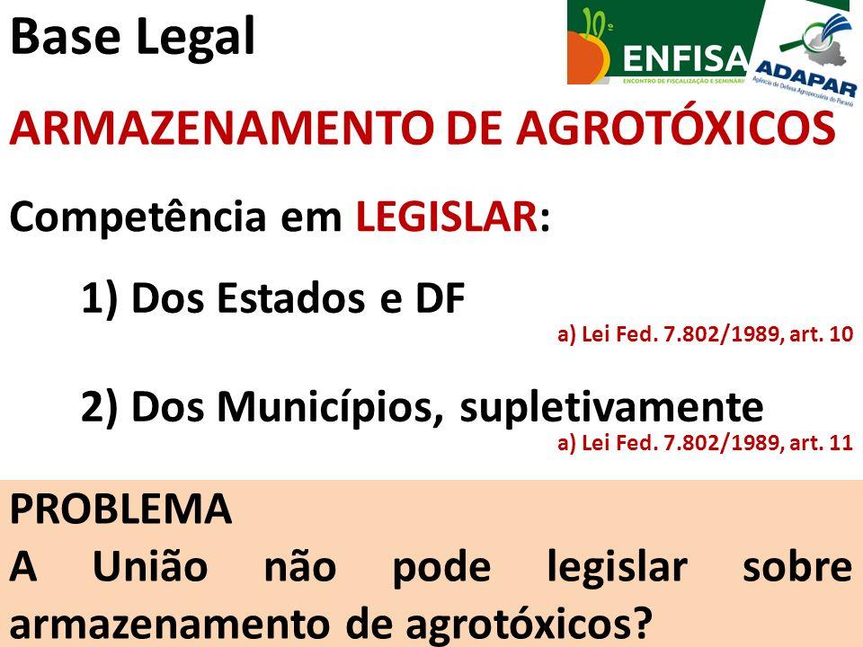 Base Legal Competência em LEGISLAR: a) Lei Fed. 7.802/1989, art. 11 ARMAZENAMENTO DE AGROTÓXICOS 1) Dos Estados e DF 2) Dos Municípios, supletivamente