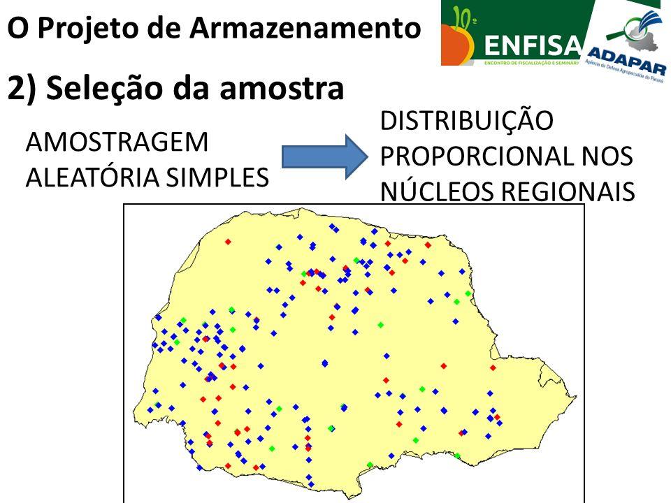 O Projeto de Armazenamento 2) Seleção da amostra AMOSTRAGEM ALEATÓRIA SIMPLES DISTRIBUIÇÃO PROPORCIONAL NOS NÚCLEOS REGIONAIS