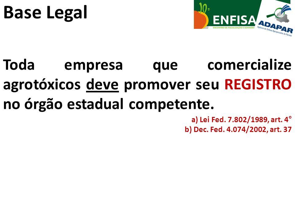 Base Legal Toda empresa que comercialize agrotóxicos deve promover seu REGISTRO no órgão estadual competente. a) Lei Fed. 7.802/1989, art. 4° b) Dec.