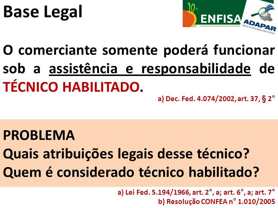 Base Legal O comerciante somente poderá funcionar sob a assistência e responsabilidade de TÉCNICO HABILITADO. a) Dec. Fed. 4.074/2002, art. 37, § 2° P