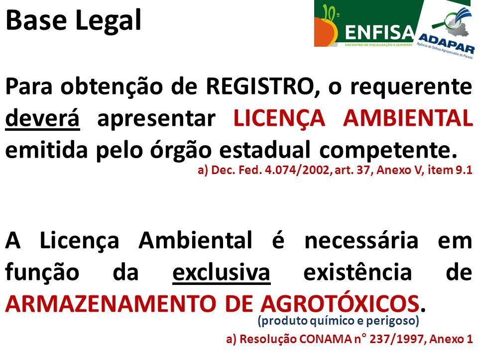 Base Legal Para obtenção de REGISTRO, o requerente deverá apresentar LICENÇA AMBIENTAL emitida pelo órgão estadual competente. a) Dec. Fed. 4.074/2002