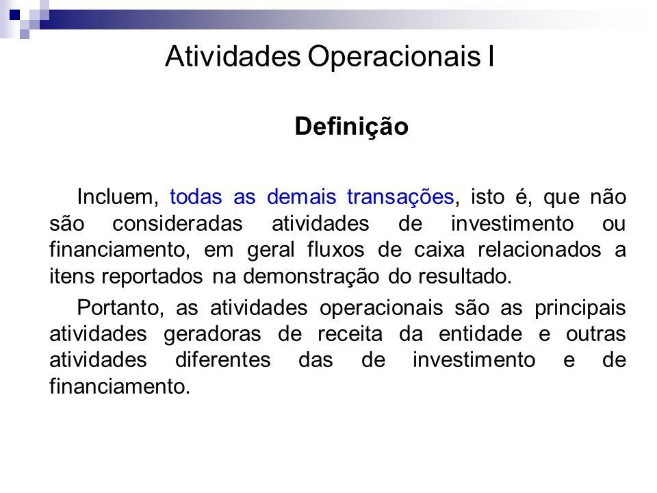 Atividades Operacionais II Exemplos: São basicamente derivados das principais atividades geradoras de receita da entidade.