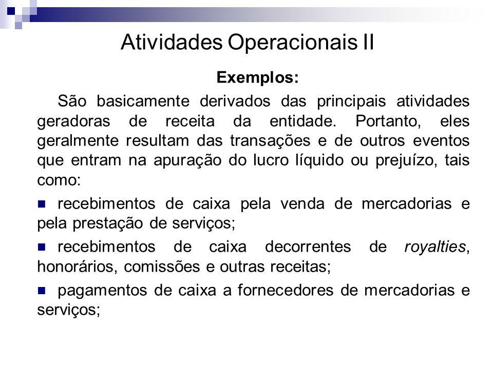 Atividades Investimento III Estrutura OBS: os dividendos recebidos podem ser classificados como atividades operacionais