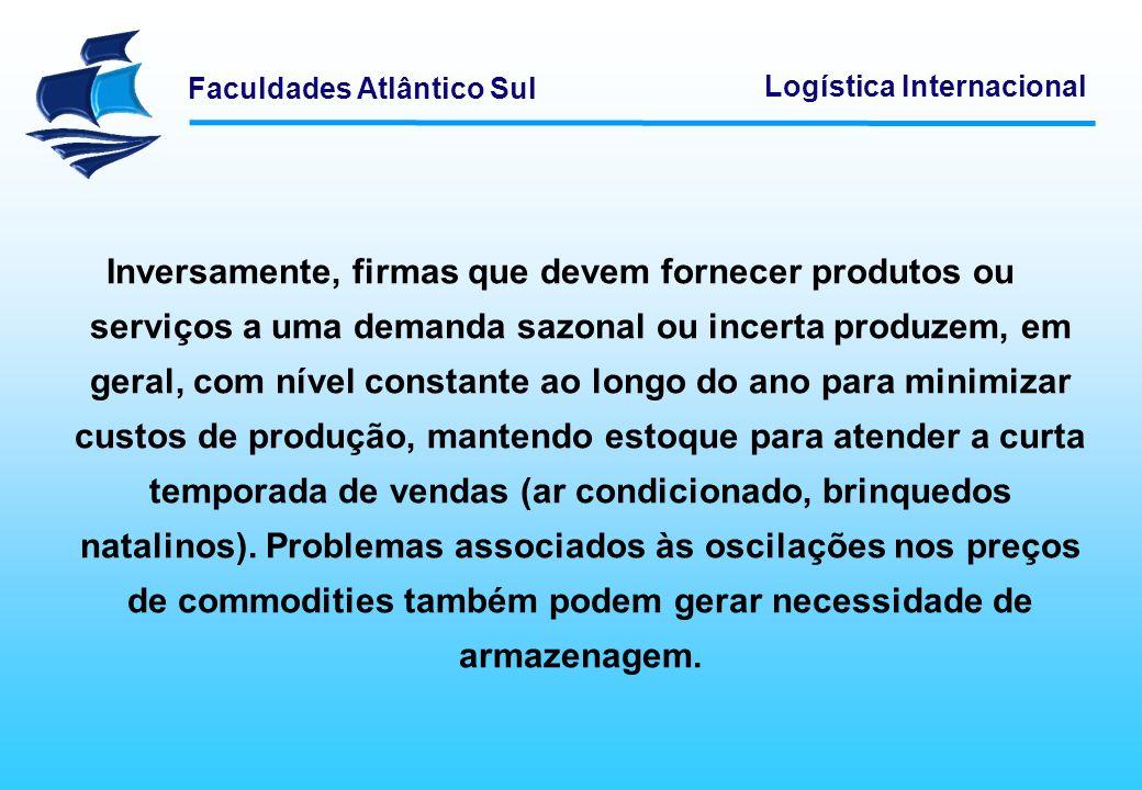 Faculdades Atlântico Sul Logística Internacional Inversamente, firmas que devem fornecer produtos ou serviços a uma demanda sazonal ou incerta produze