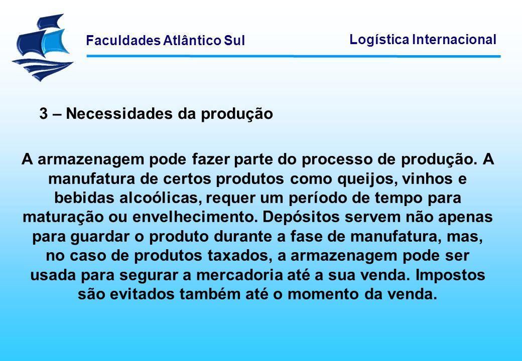 Faculdades Atlântico Sul Logística Internacional A armazenagem pode fazer parte do processo de produção. A manufatura de certos produtos como queijos,