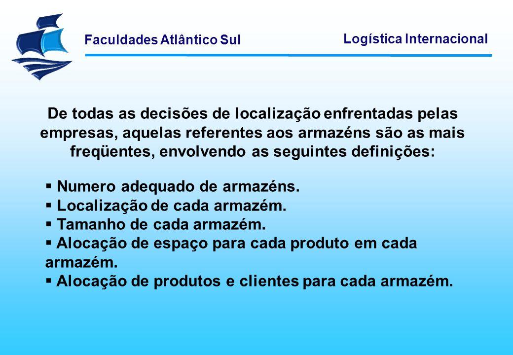 Faculdades Atlântico Sul Logística Internacional De todas as decisões de localização enfrentadas pelas empresas, aquelas referentes aos armazéns são a