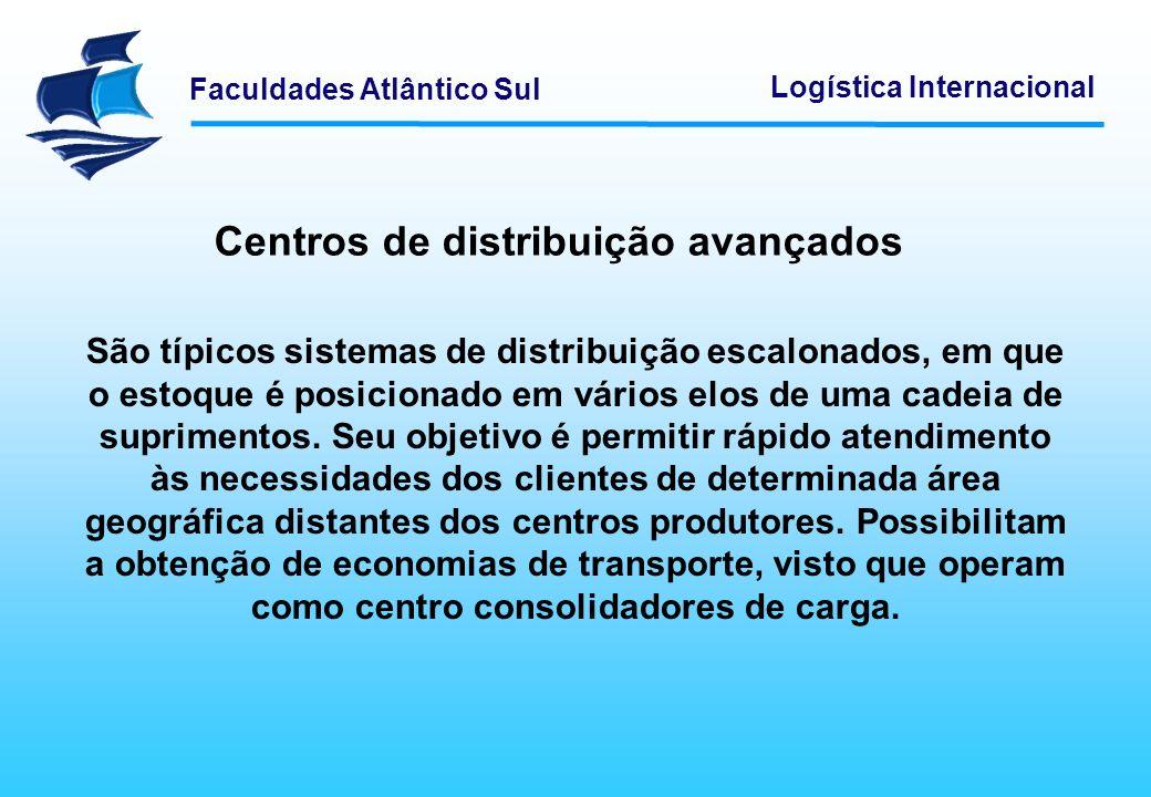 Faculdades Atlântico Sul Logística Internacional Centros de distribuição avançados São típicos sistemas de distribuição escalonados, em que o estoque