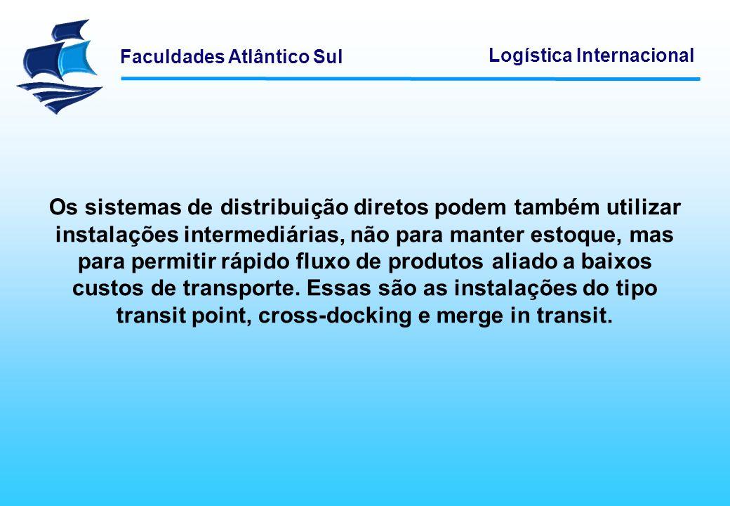 Faculdades Atlântico Sul Logística Internacional Os sistemas de distribuição diretos podem também utilizar instalações intermediárias, não para manter