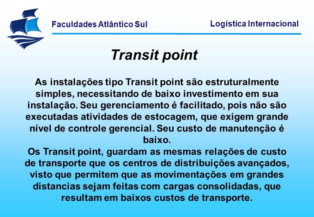 Faculdades Atlântico Sul Logística Internacional Transit point As instalações tipo Transit point são estruturalmente simples, necessitando de baixo in