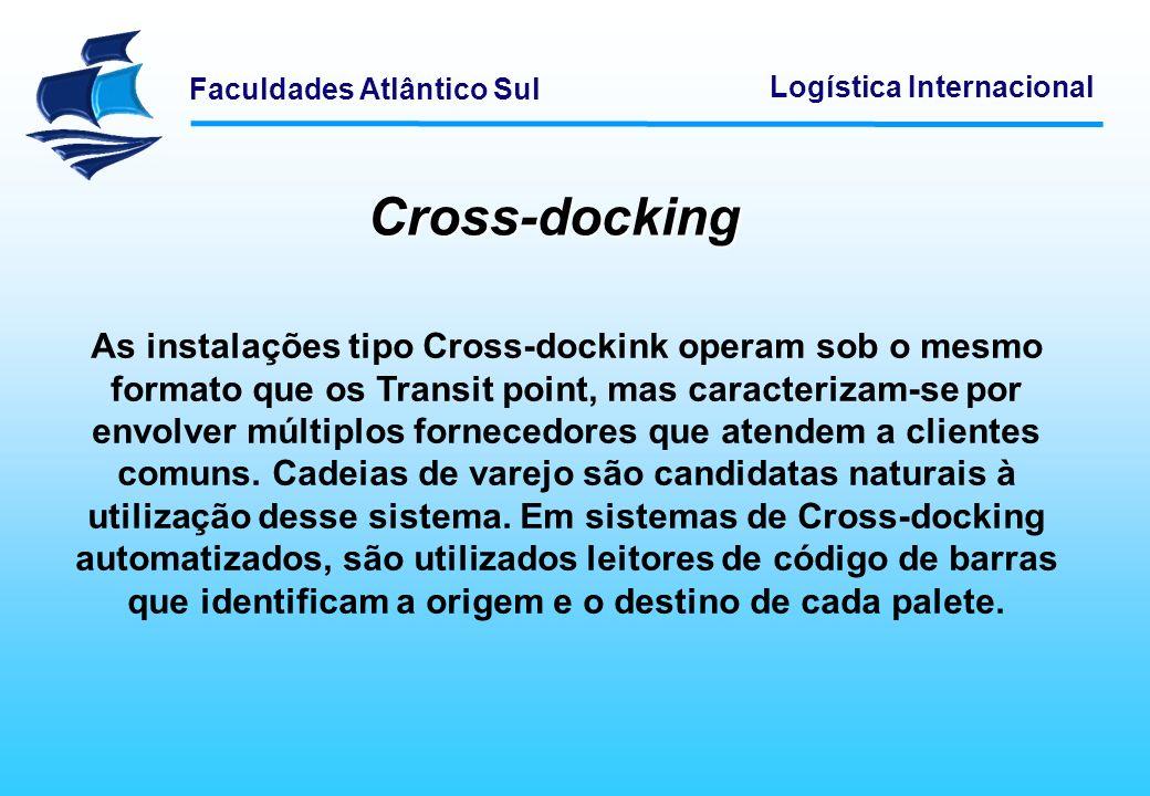 Faculdades Atlântico Sul Logística Internacional Cross-docking As instalações tipo Cross-dockink operam sob o mesmo formato que os Transit point, mas